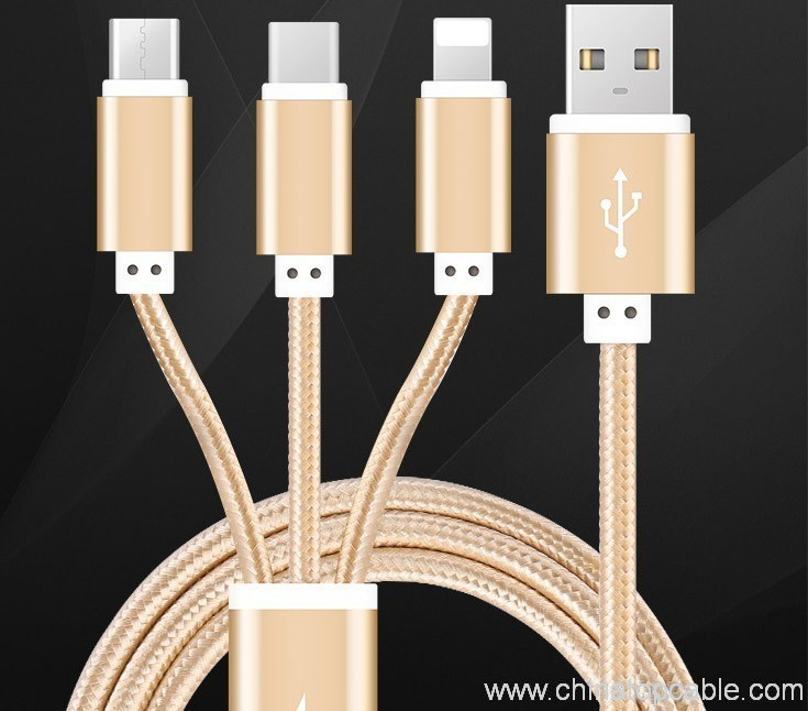 4381ad58b1e 3 en 1 cable de datos usb punto con Inferface iphone ,micro y tipo C ...