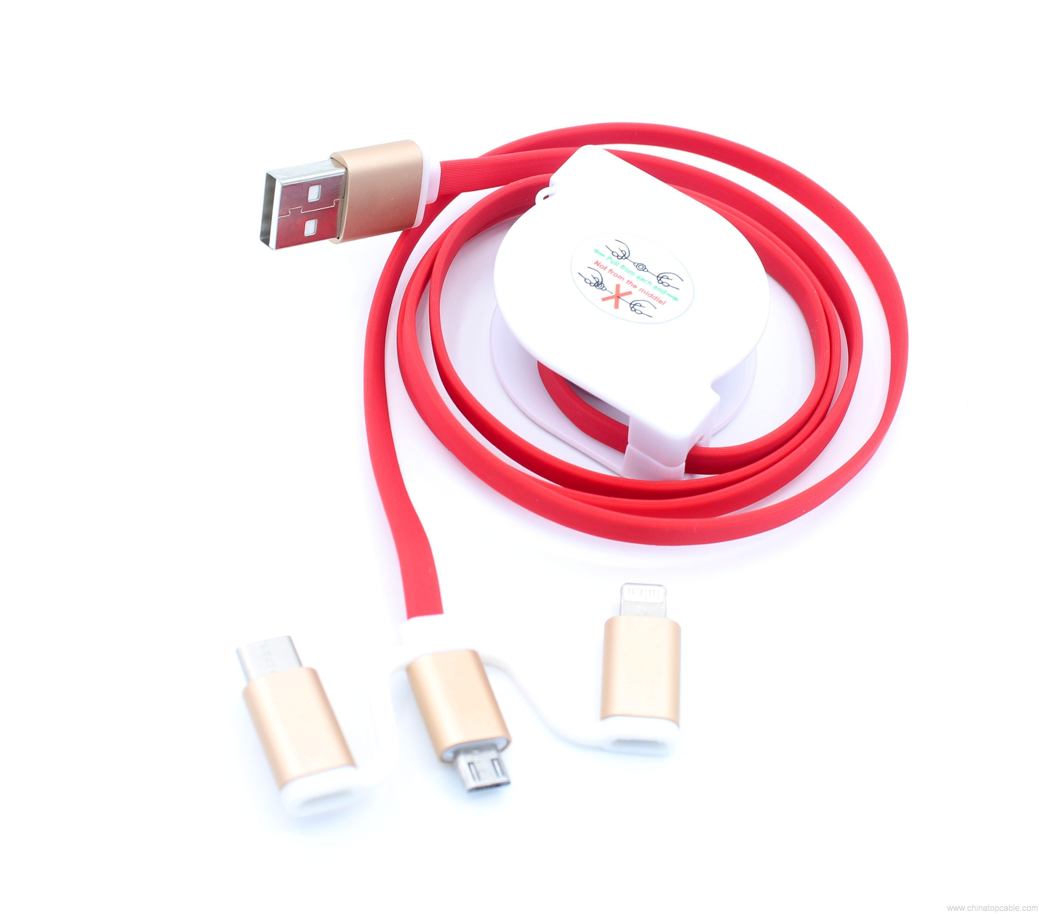 Type C Micro 8 Pin Multi 3 In 1 Retractable Noodle Flat Usb Data Wiring Charging Cable Hengye Factory Store