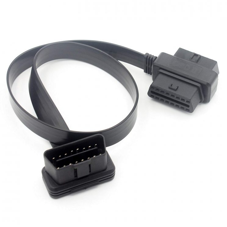 Car OBD2 Y Splitter Extension Cable 16 Pin Male To Double 16 Pin Female Black